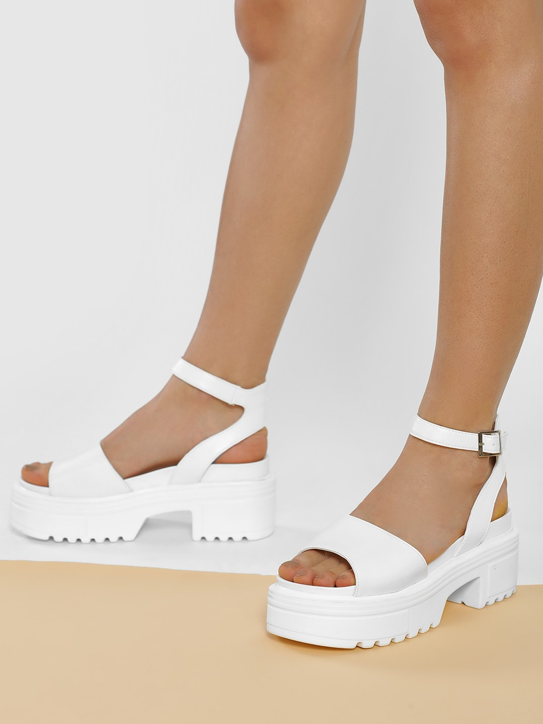 Truffle Collection White Chunky Sole Heeled Sandals 1