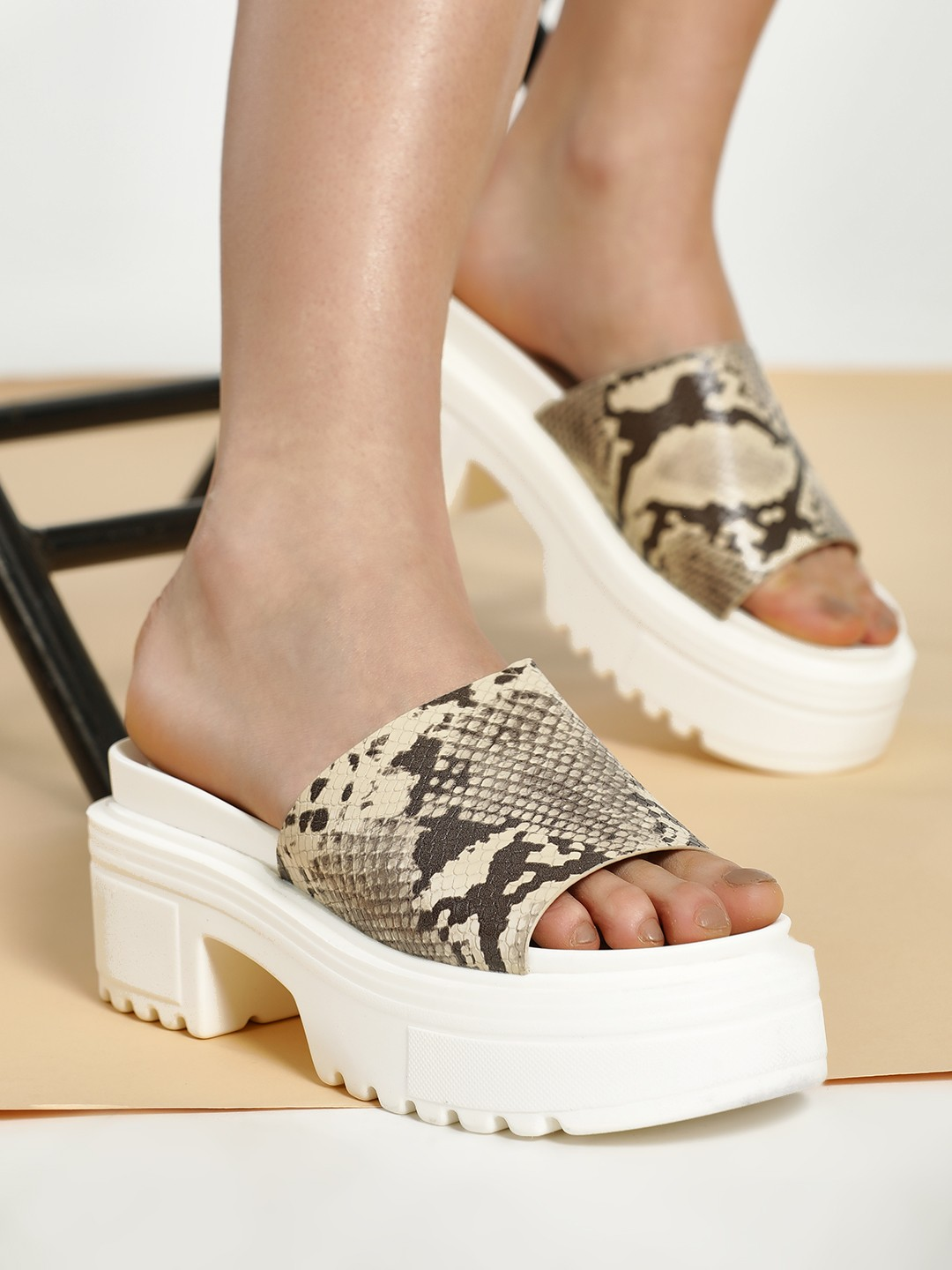Truffle Collection Beige Snake Print Chunky Sole Heeled Sandals 1