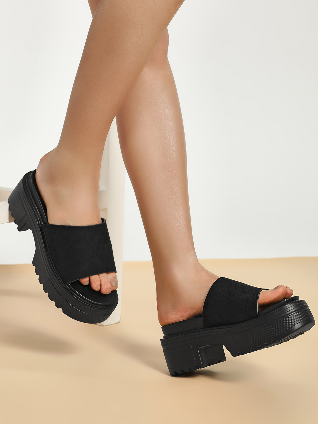 Truffle Collection Black Suede Strap Chunky Sole Heeled Sandals 1