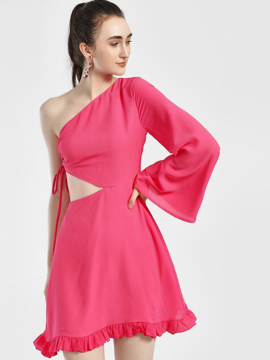 KOOVS Pink One Shoulder Cut-Out Skater Dress 1