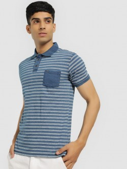 Buffalo Self-Design Striped Polo Shirt