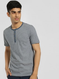 Buffalo Henley Neck Striped T-Shirt