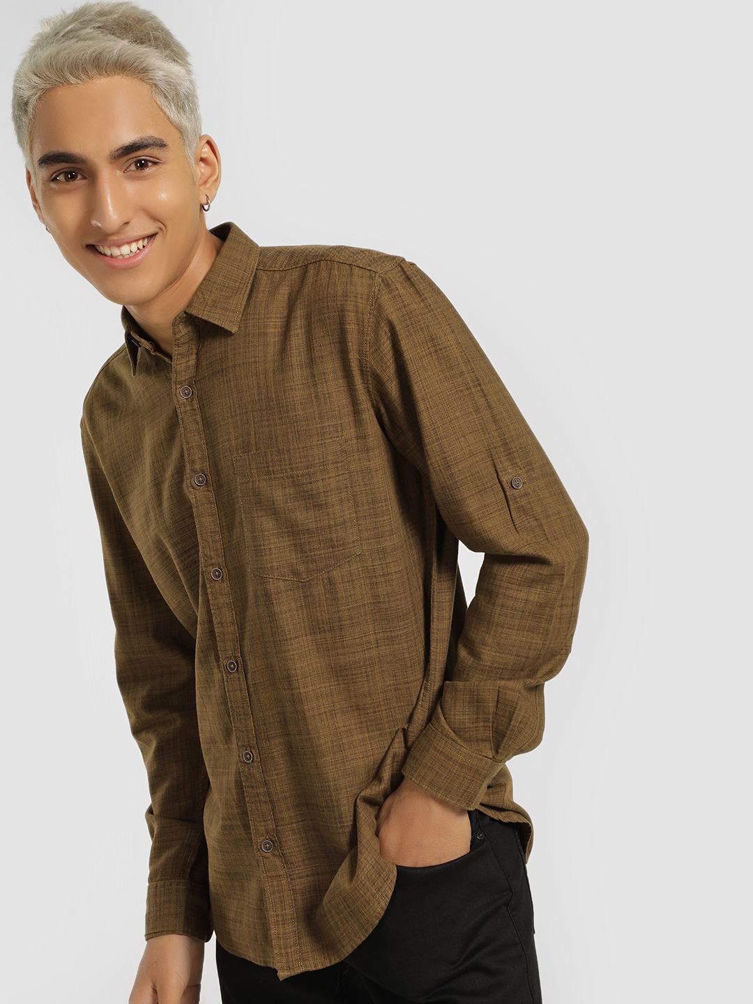 Buffalo Brown Textured Long Sleeve Shirt 1