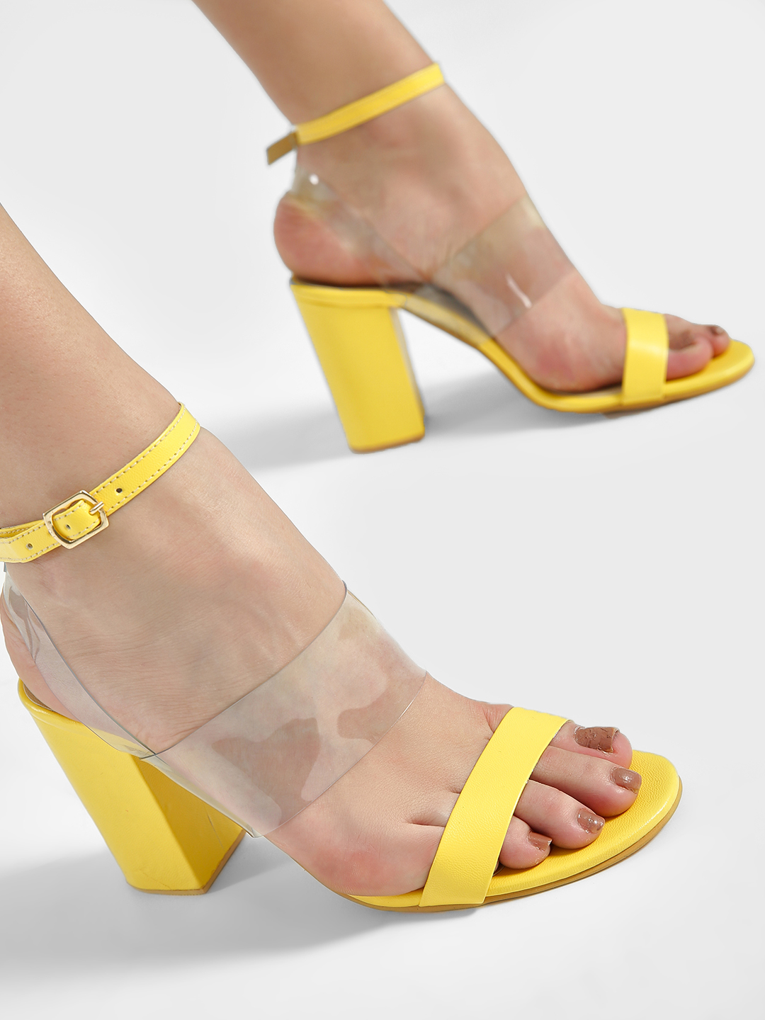 Shoe that fits You Yellow Clear Strap Block Heeled Sandals 1