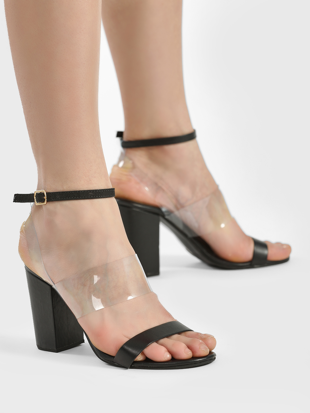 Shoe that fits You Black Clear Strap Block Heeled Sandals 1