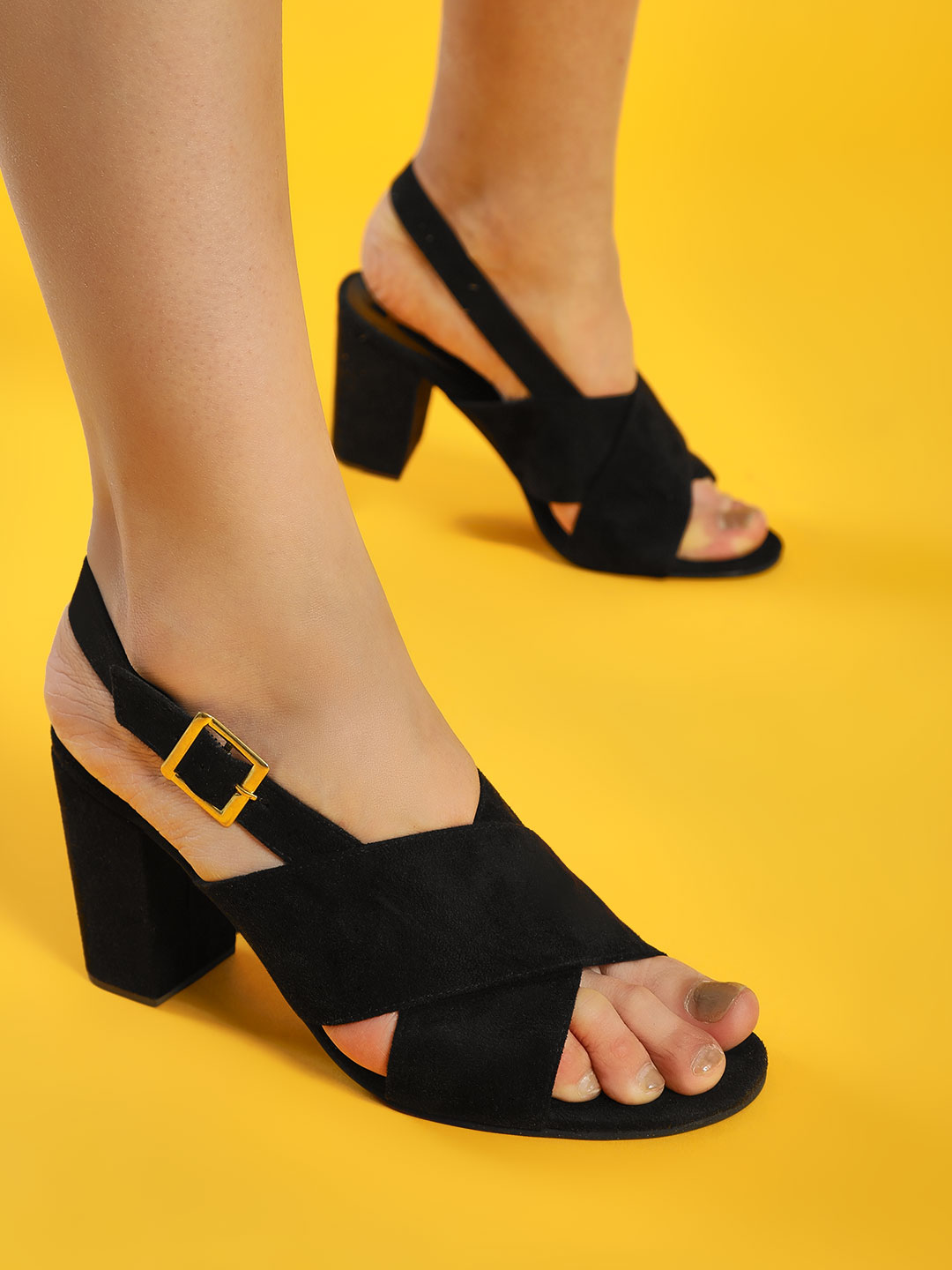Shoe that fits You Black Suede Cross Strap Block Heeled Sandals 1