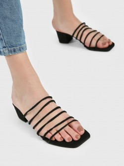 Shoe that fits You Suede Multi-Strap Heeled Sandals