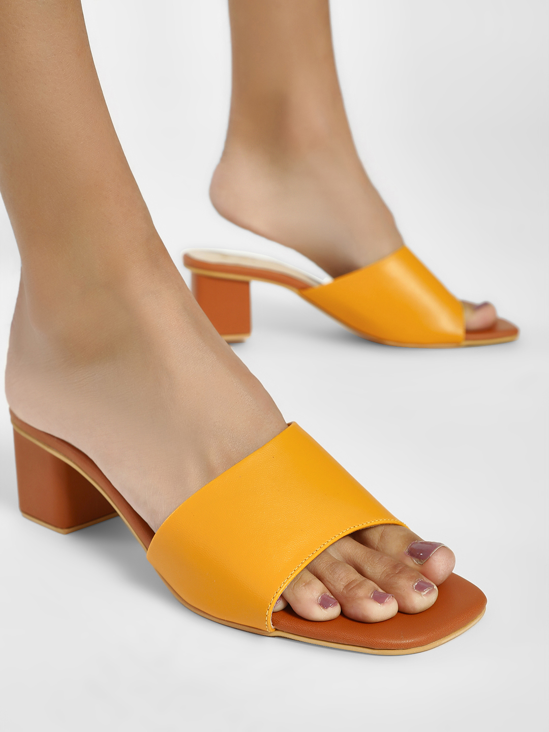 Shoe that fits You Tan Broad Asymmetric Heeled Sandals 1
