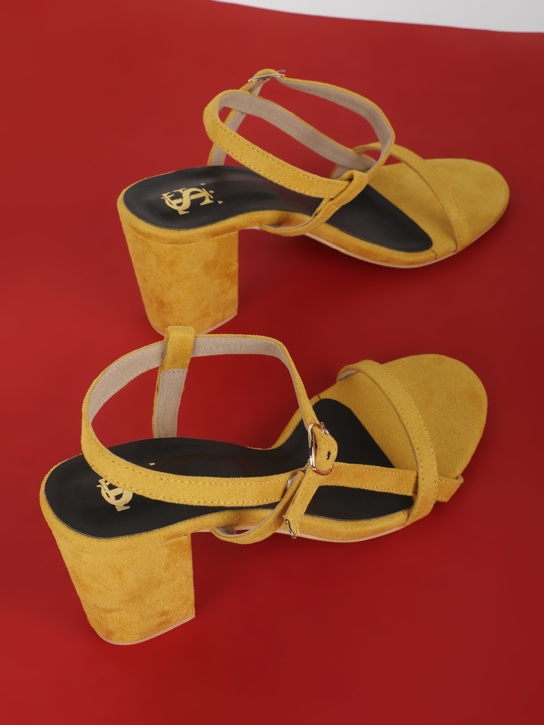 Shoe that fits You Yellow Suede Heeled Sandals 1