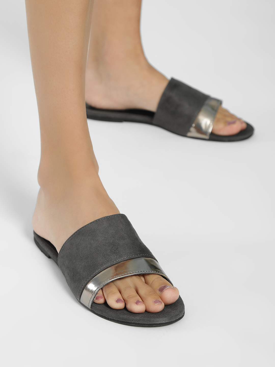 Shoe that fits You Grey Suede Metallic Strap Flat Sandals 1
