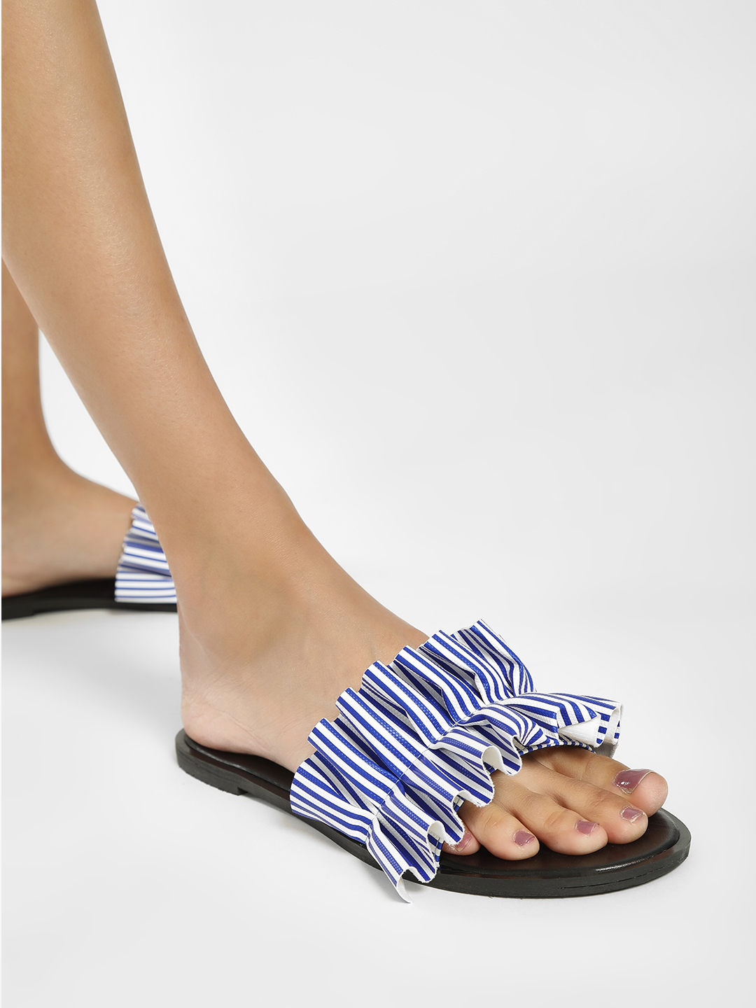 Shoe that fits You Blue Broad Frill Detail Slides 1