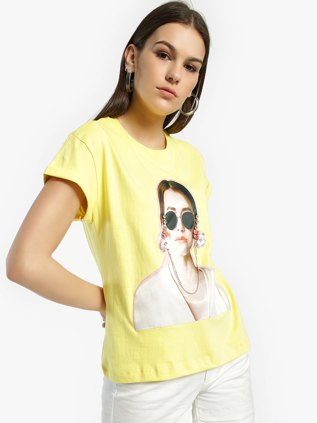 KOOVS Yellow Face Patch Embellished T-Shirt 1