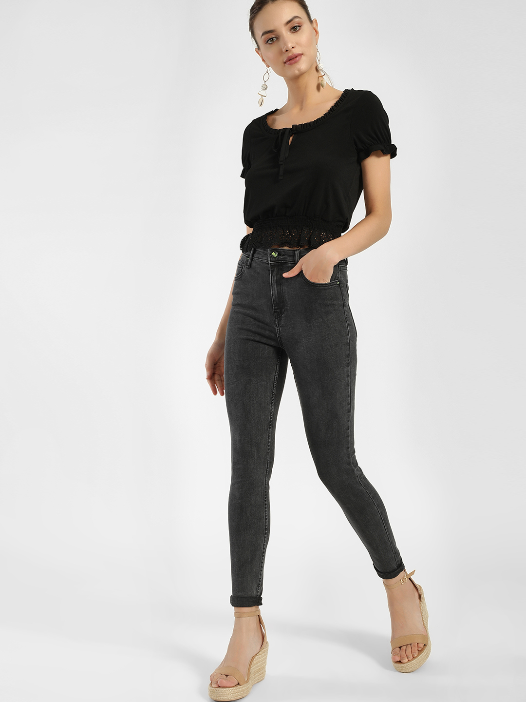 LOVEGEN Grey Light Wash High Waist Skinny Jeans 1
