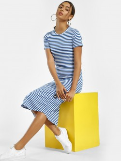 Kultprit Striped Cut-And-Sew Back Midi Dress