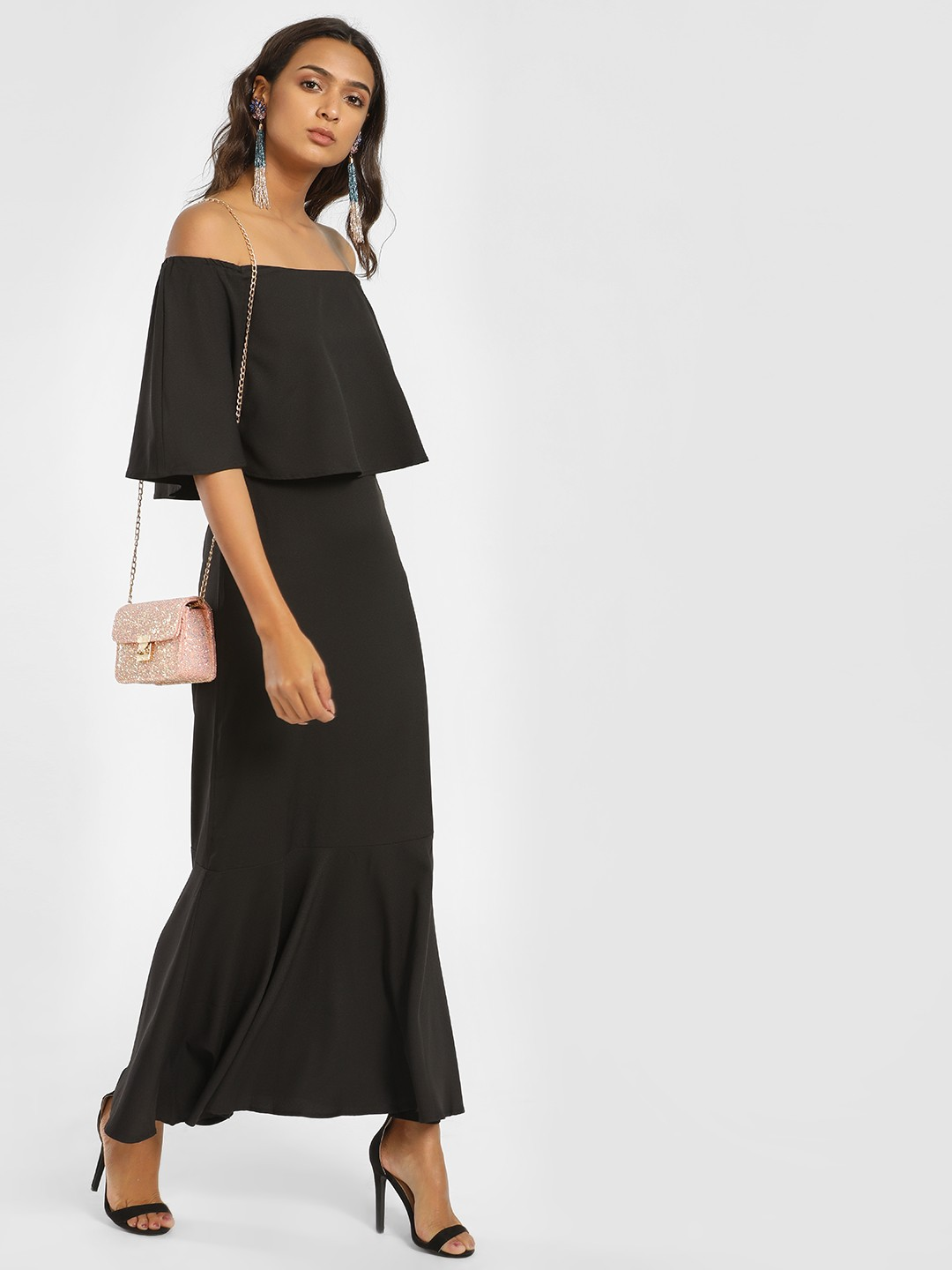 Femella Black Off Shoulder Overlay Maxi Dress 1