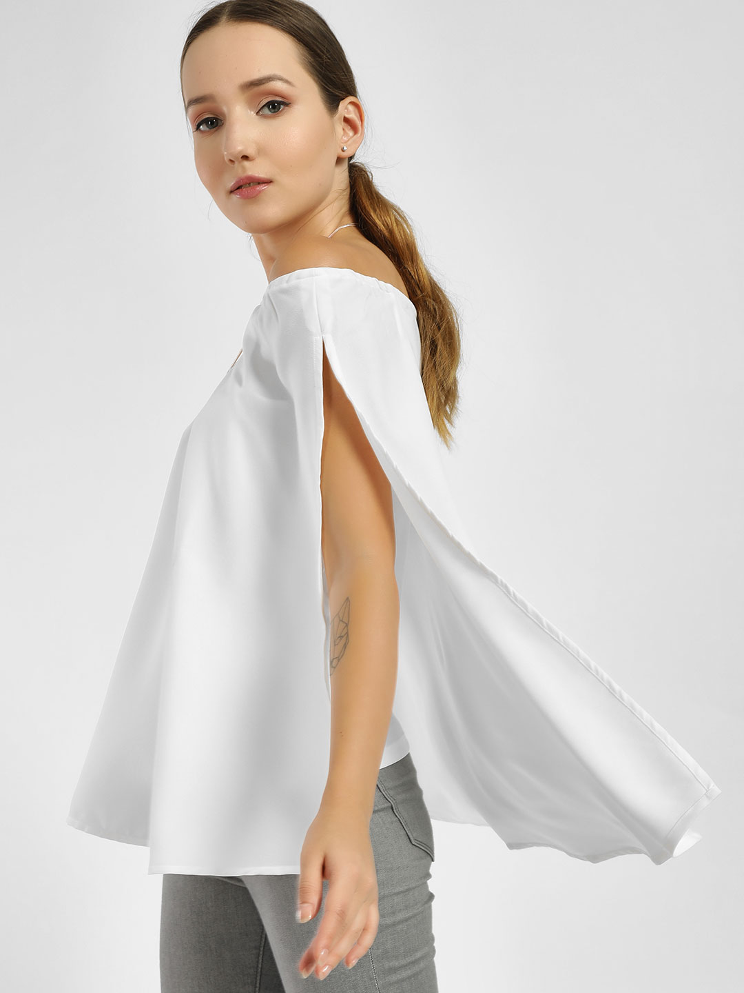 Femella White High Low Cape Top 1