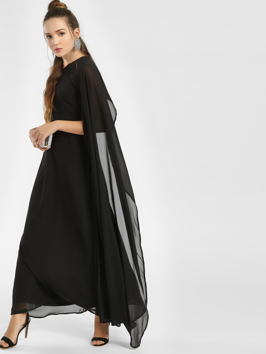 Femella Black One Shoulder Cape Maxi Dress 1