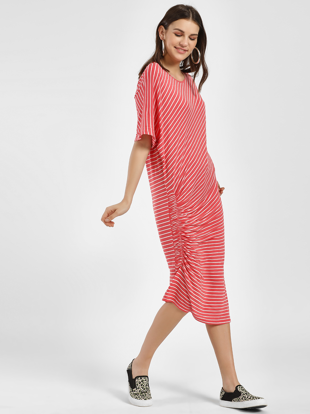 Femella Pink Striped Ruched Front Midi Dress 1