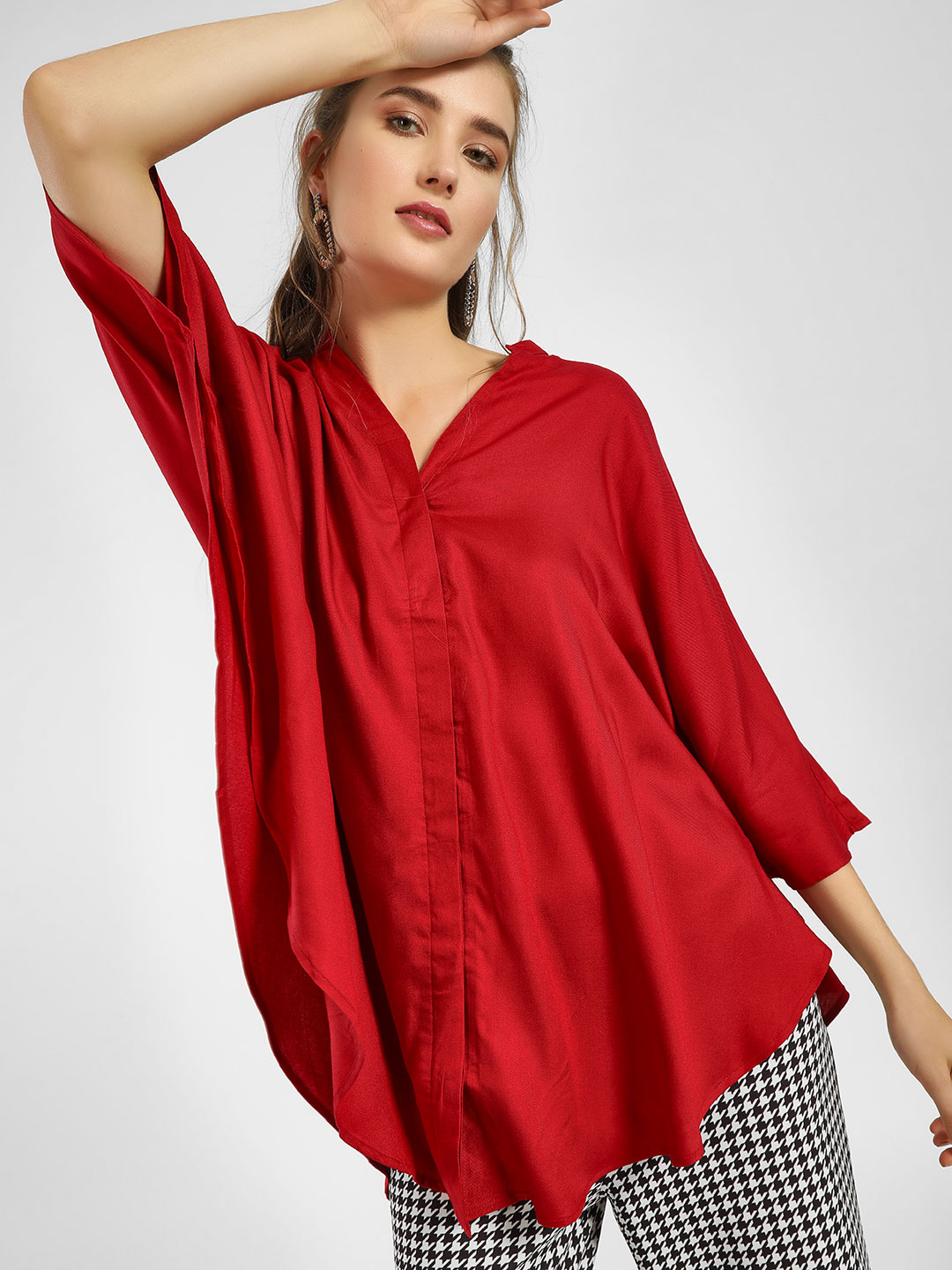 Femella Red Oversized Button-Down Cape Shirt 1