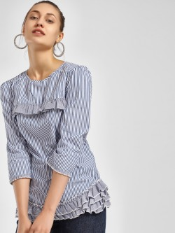 PostFold Striped Ruffle Sleeve Blouse