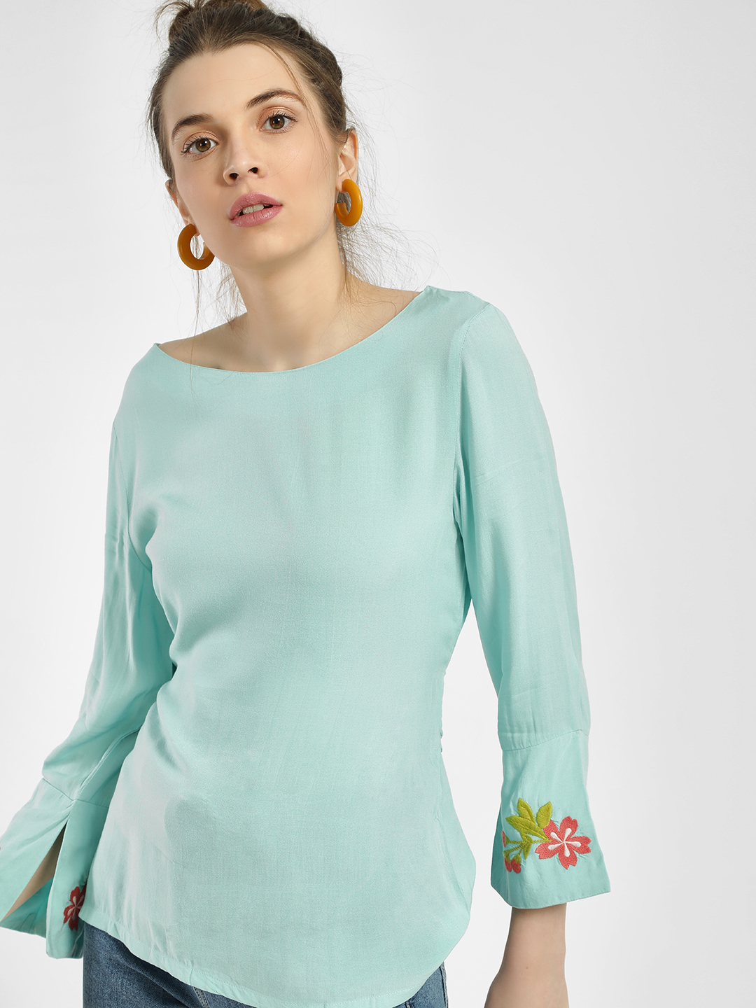 PostFold Blue Floral Embroidered Back Tie-Up Blouse 1