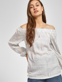 PostFold Vertical Stripe Bandeau Neck Blouse