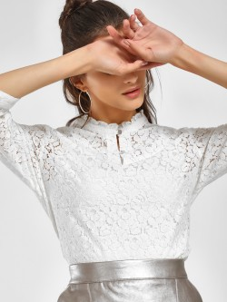 PostFold Lace Detail Frill Neck Blouse