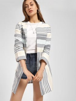 PostFold Mixed Stripe Twin Pocket Shrug