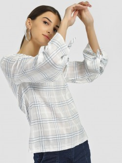 PostFold Plaid Check Tie-Up Sleeve Blouse