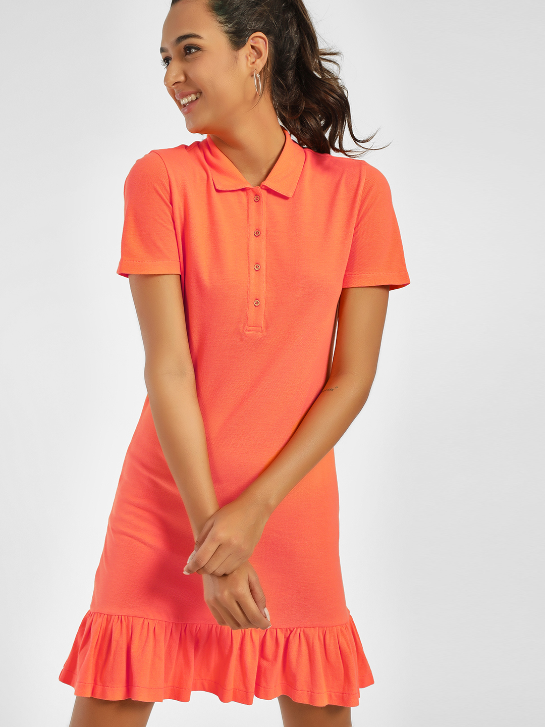 PostFold Orange Frill Hem Polo Shift Dress 1