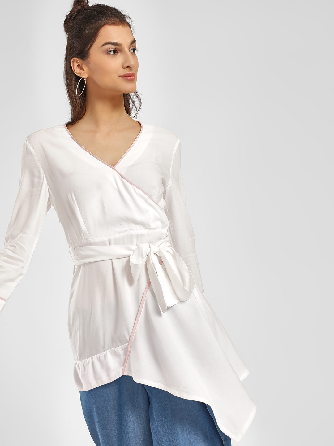 PostFold White Back Floral Embroidered Tunic Top 1