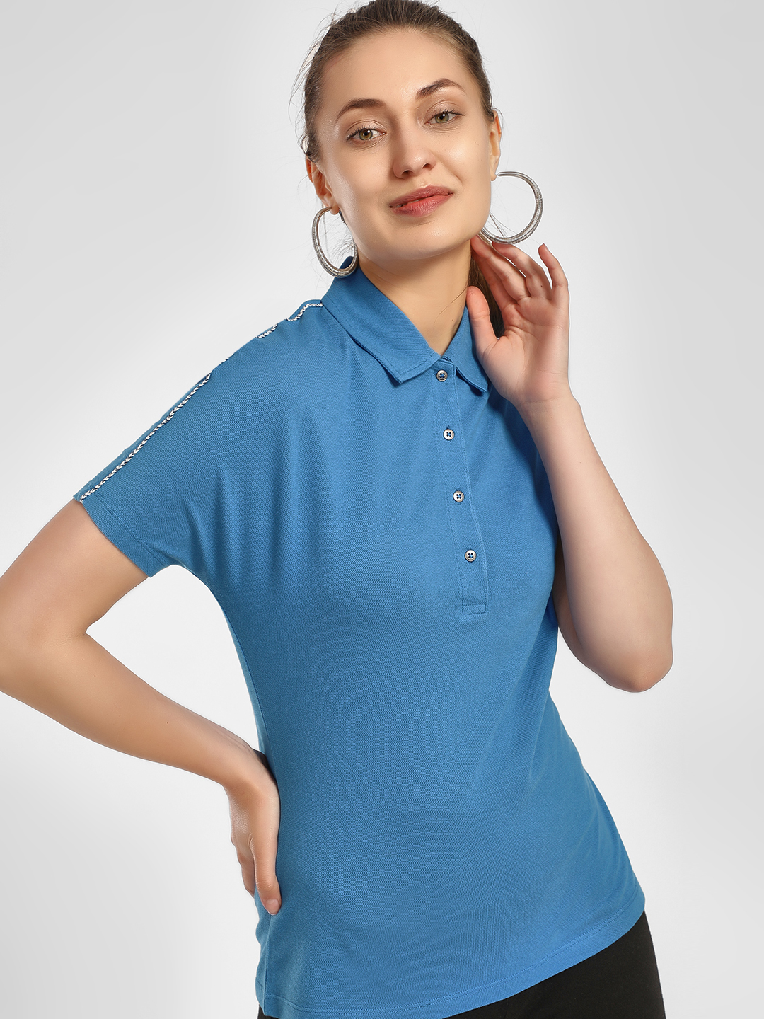 PostFold Blue Track Embroidered Polo T-Shirt 1