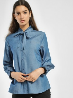 PostFold Ruffled Tie-Up Shirt