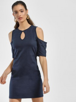 Blue Sequin Keyhole Cold-Shoulder Shift Dress