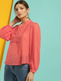 Blue Sequin Mandarin Collar Lace Insert Blouse