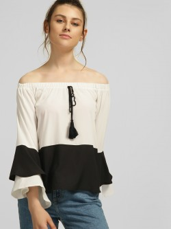 Blue Sequin Off-Shoulder Colour Block Blouse