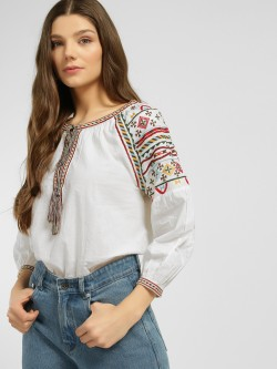 Blue Sequin Tribal Embroidered Peasant Blouse