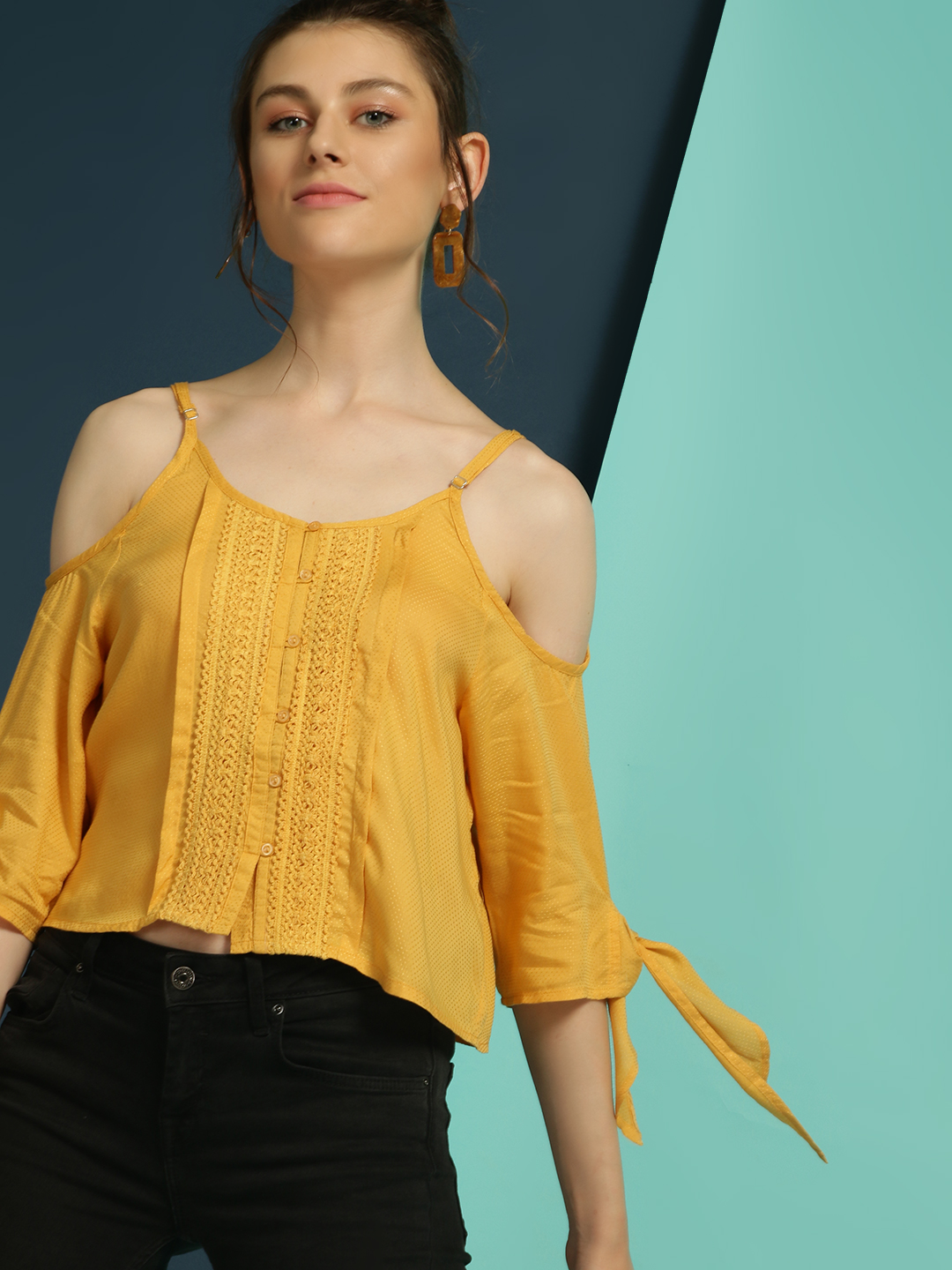 Blue Sequin Yellow Dobby Lace Cold Shoulder Blouse 1