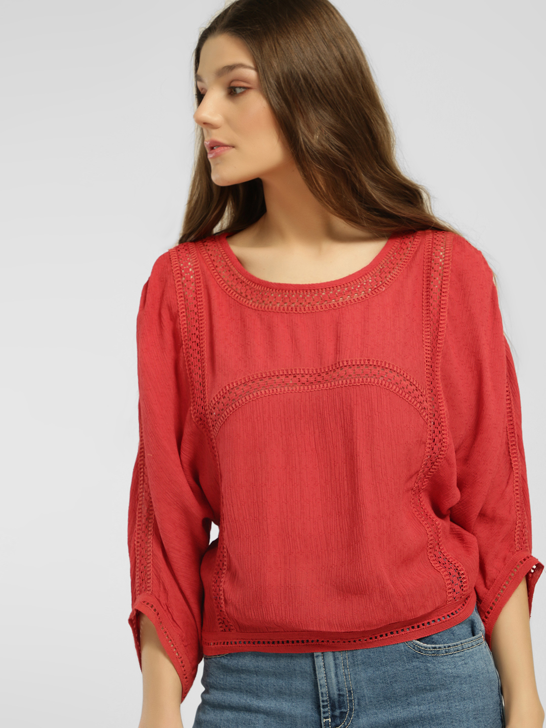 Blue Sequin Red Lace Insert Batwing Sleeve Blouse 1