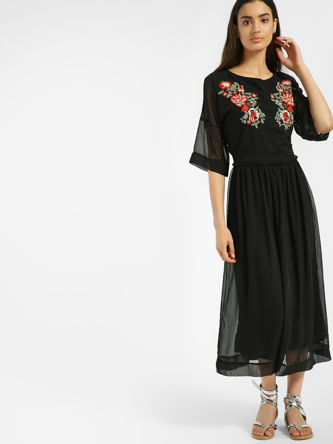 Blue Sequin Black Floral Embroidered Midi Dress 1