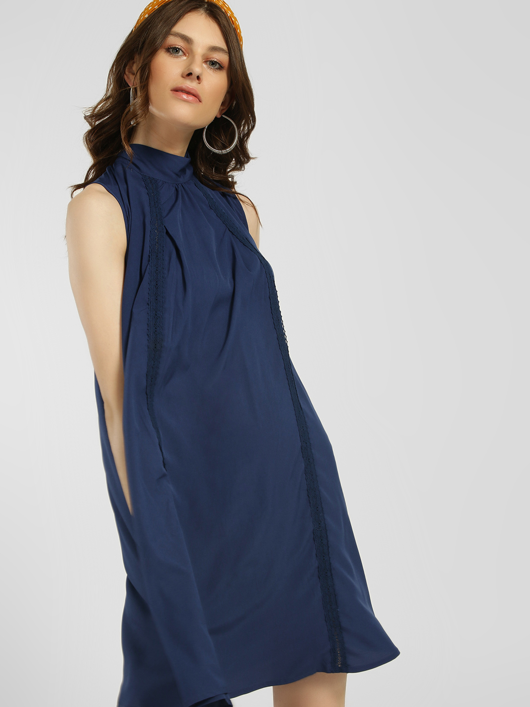 Blue Sequin Navy Lace Tie-Up Neck Swing Dress 1