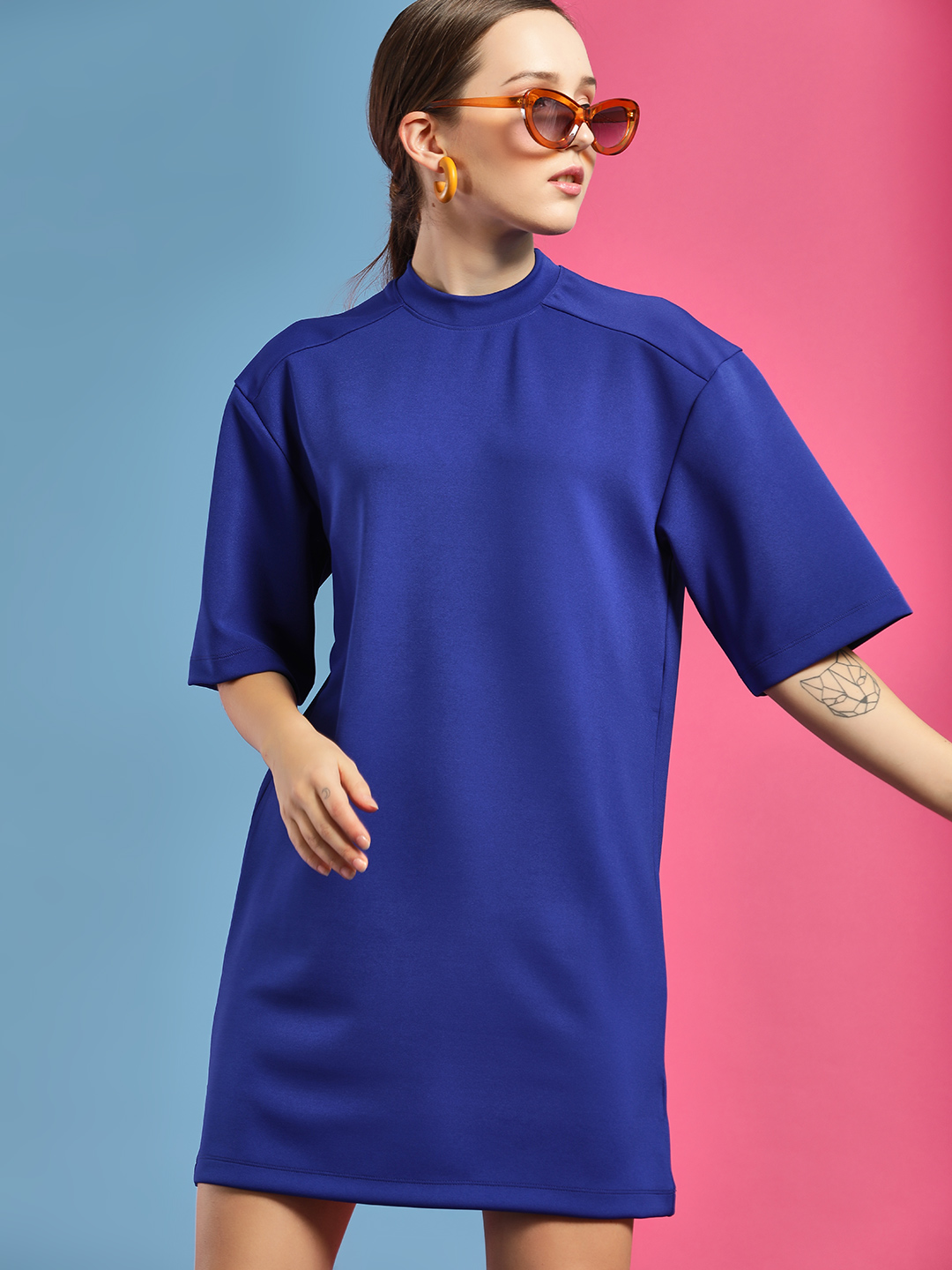 Bhaane Blue Boxy Fit T-Shirt Dress 1