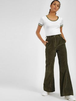 Bhaane High Waist Flared Corduroy Trousers