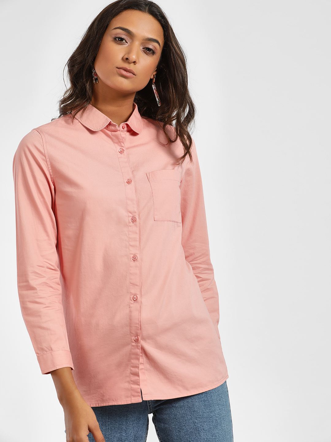 Bhaane Pink Peter Pan Collar Shirt 1