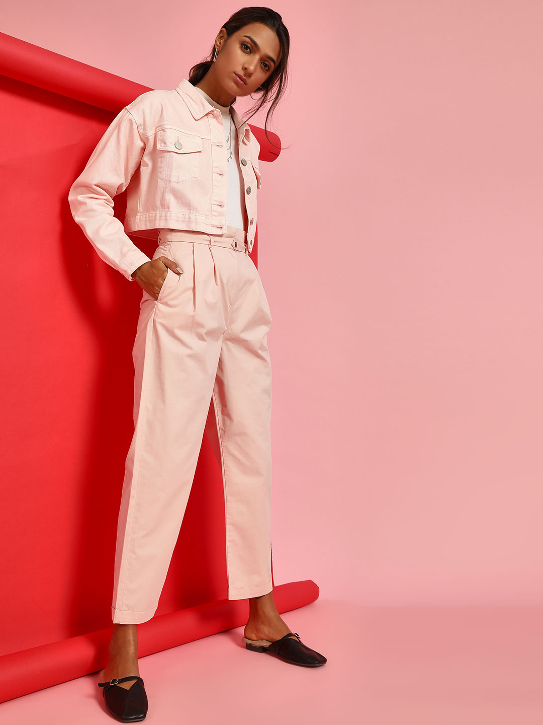 Bhaane Pink Paperbag Waist Cropped Trousers 1
