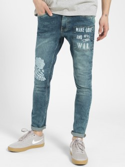 Blue Saint Rose Skull Slogan Print Jeans