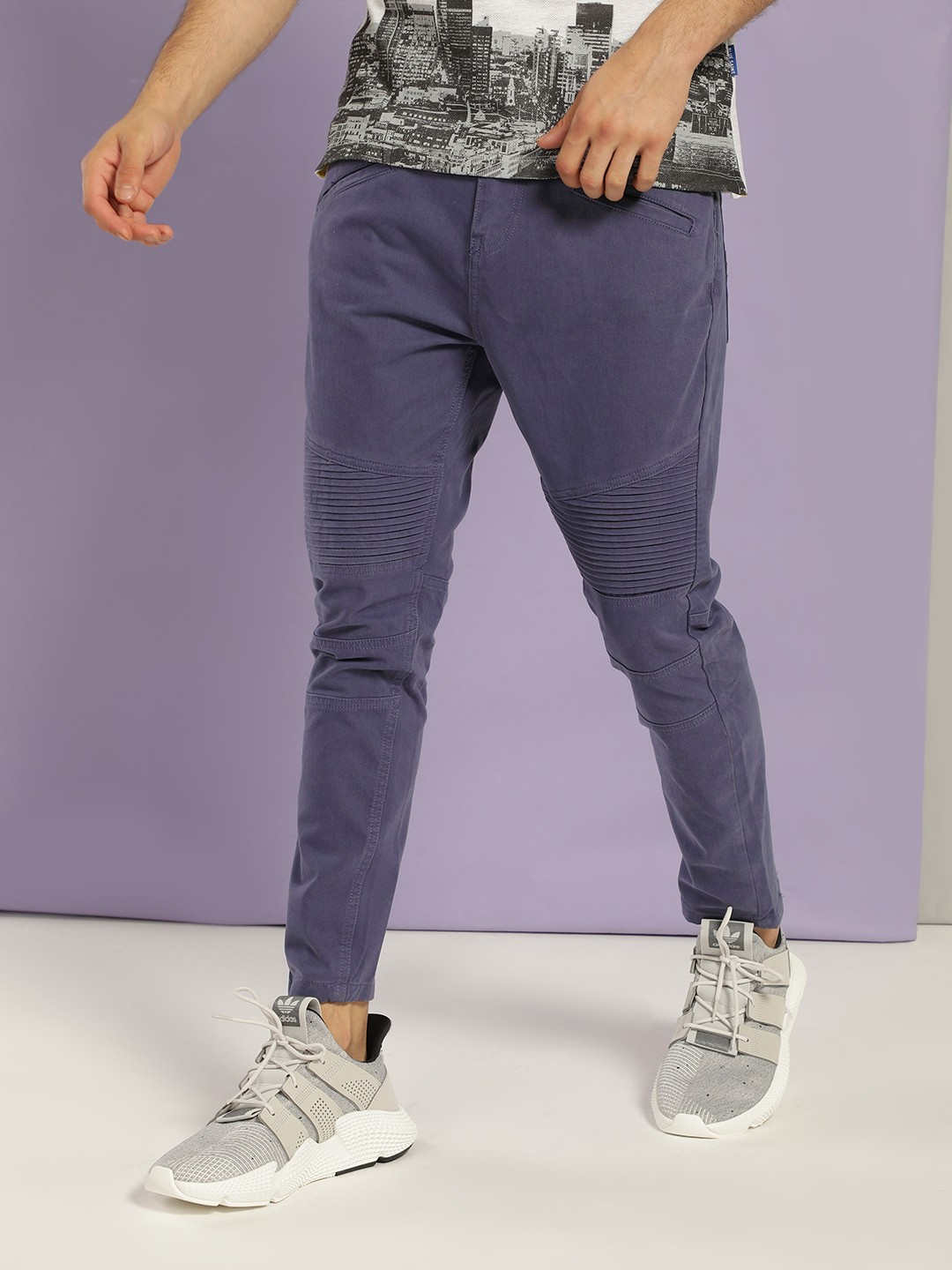Blue Saint Blue Biker Panel Slim Trousers 1