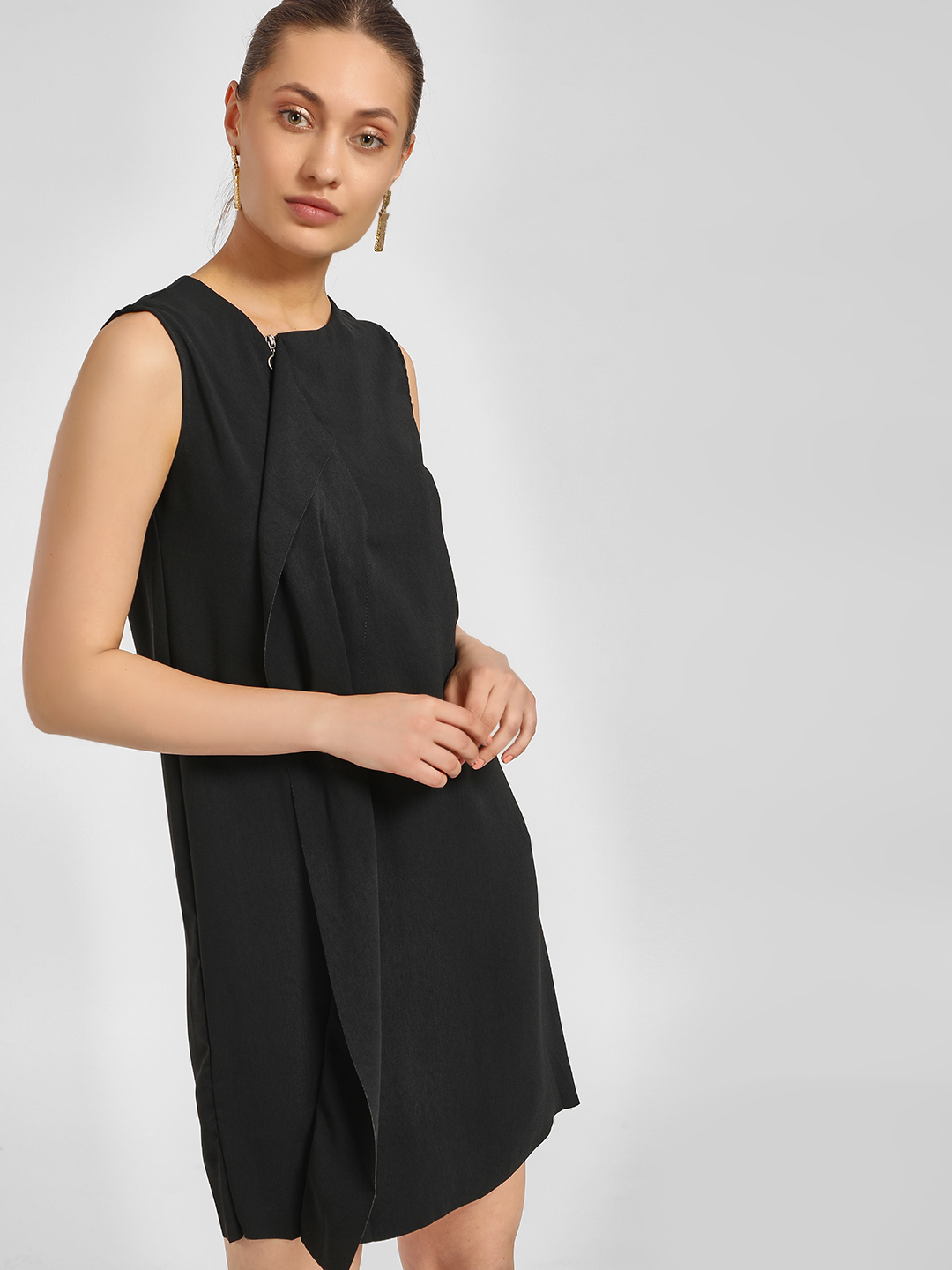 LC Waikiki Black Overlay Detail Zip-Up Shift Dress 1