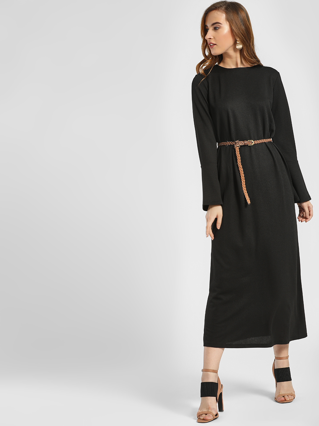 LC Waikiki Black Textured Bell Sleeve Midi Dress 1