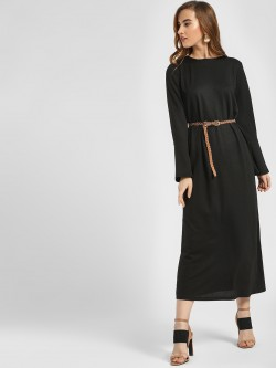 LC Waikiki Textured Bell Sleeve Midi Dress